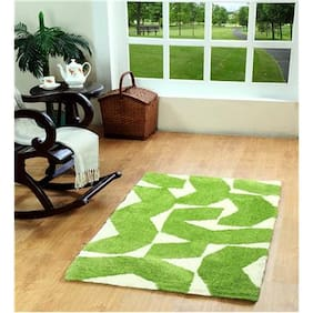 HomeFurry Polyester Abstract Carpet Green & White