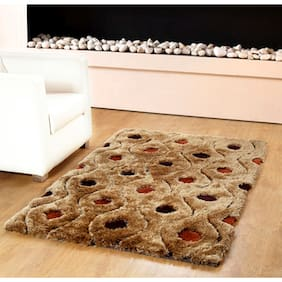 HOMEFURRY Multicolor GOL MOLES Polyester Carpet 4x6 Feet