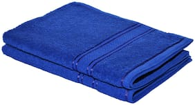 HOMEISH 450 GSM Cotton Hand Towel ( Pack of 2 , Blue )