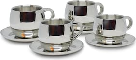 Homeish Metallo Stainless Steel Double Walled Cup & Saucer Set of 4 (Round, 4x80ml)
