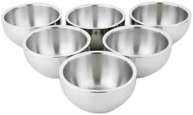 Homeish Metallo Stainless Steel Double Valved Serving Bowl Set of 6