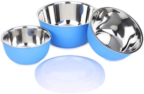 Homeish Microwave Safe Stainless Steel Plastic Coated Bowl Set of 3 (800ml;1400ml;1700ml) - Blue