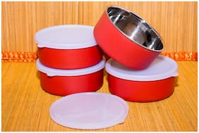 Homeish Microwave Safe Stainless Steel Small Lunch Containers for Office / Home - Set of 4 (Red;4x11cms;4x300ml Approx.)