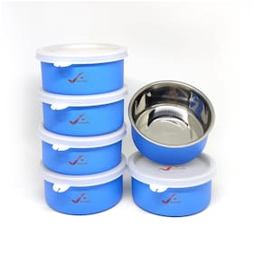 Homeish Microwave Safe Stainless Steel Small Lunch Containers for Office / Home - Set of 6 (Blue;6x11cms;6x300ml Approx.)