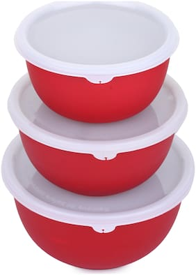Homeish Microwave Safe Stainless Steel Plastic Coated Bowl Set of 3 (800ml;1400ml;1700ml) - Red