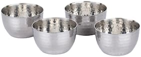 Homeish Stainless Steel Hammered Design Serving Bowl / Katori Set of 4 for Vegetable;Dessert etc (Small;8cms;150ml each)
