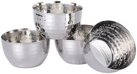 Homeish Stainless Steel Hammered Design Serving Bowl / Katori Set of 4 for Vegetable;Dessert etc (Big;10cms;250ml each)