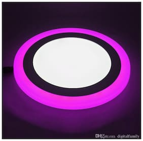 HOMES DECOR 6W LED ROUND PANEL CEILING LIGHT WITH 3D EFFECT (WHITE & PINK) - PACK OF 2