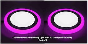 Homes Decor 12W LED Round Panel Ceiling Light With 3D Effect (White & Pink) - Pack of 2