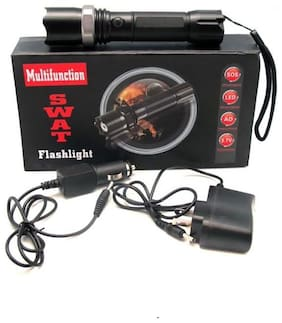 Homes Decor Swat Rechargeable LED  Aluminum Alloy with Long Distance Visibility Torch (3 Modes/500Lumens/Zoom Function)