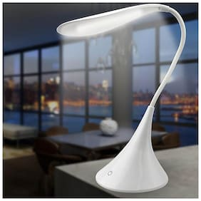 Homes Decor Rechargeable LED Flexi Swan Table Lamp With Inbuilt 3 Brightness Level Touch Control- White
