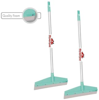 Homfine Pack of 2 Cleaning Floor Wiper with Long Handle;Wide Quality Foam for Home;Kitchen;Bathroom