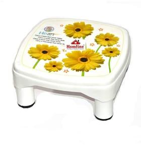 Homfine Plastic Bathroom Stool/Patla. Chair Multipurpose Stool for Home, Kitchen, Bathroom (1 Pc, Off White - Printed)