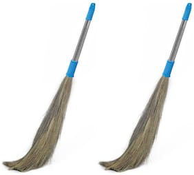 Homfine Stainless Steel Shagun Eco Friendly Soft Grass Floor Broom Stick (Pack Of 2)