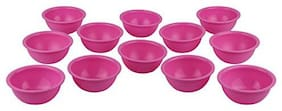Homray Exotic Microwave Safe & Unbreakable Pink Round 350 ml Bowls (Set of 12)