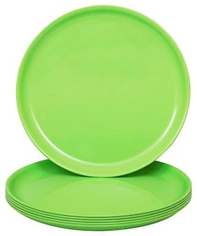 Homray Exotic Microwave Safe & Unbreakable Parrot Green Round Quarter Plates (Set of 6)