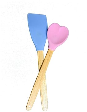 Honest Heat Resistant Silicone Spatula with Wood Handle-Safe for Non-Stick Cookware (Set of 2)