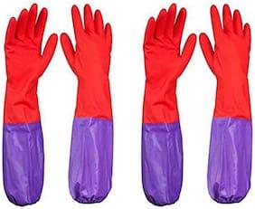 Honesty Store Rubber Waterproof Long Sleeve Multipurpose Latex Reusable Hand Gloves Pack of 4 ,(set of 2)