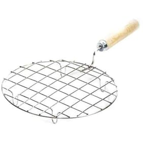 Honestystore  Barbeque Jali Roti Roast Grill Papad Roaster Chapati Toast Grill Wooden Handle