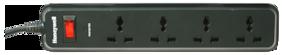 Honeywell Three Pin Black Extension Board ( 2 m , 4 Socket , 1 Switches)