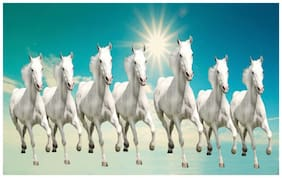 HK Prints Vastu Horse Wall Poster (Matte Finish_12x18 inch_Multicolor)
