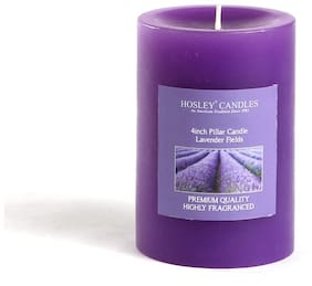 Hosley Lavender Fields Highly Fragrance 10.16 cm (4 inch) Pillar Candle