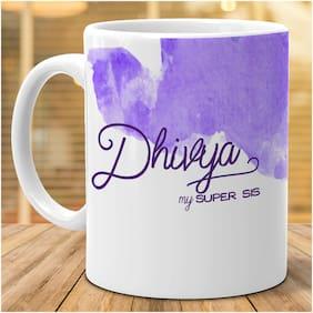 Hot Muggs- Dhivya My Super Sis Personalized Ceramic Mug, 350ml, 1 Pc