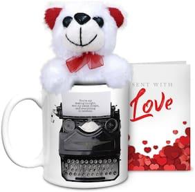 Hot Muggs Typed Love Ceramic Mug with Teddy & Card-Valentines Day Gift Mug