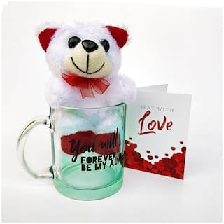 Hot Muggs You will forever be my always Glass Mug with Teddy & Card;350 ml.
