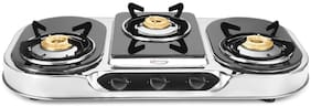 Hotsun 3 Burners Stainless Steel With Glass Top Gas Stove - Black