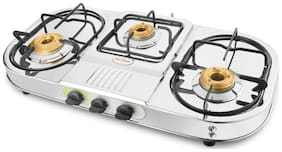Hotsun 3 Burners Stainless Steel Gas Stove - Silver