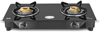 Hotsun 2 Burners Stainless Steel With Glass Top Gas Stove - Black