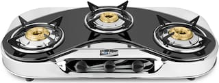 Hotsun 3 Burners Stainless Steel Gas Stove - Black & Silver