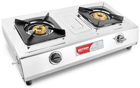 Hotsun 2 Burners Stainless Steel Gas Stove - Silver