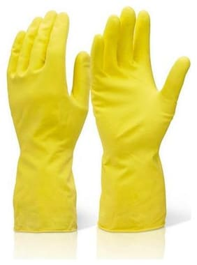 House Hold Cleaning Rubber Hand Gloves, Kitchen,Washing Toilet Cleaning,Garden (1 Pair)