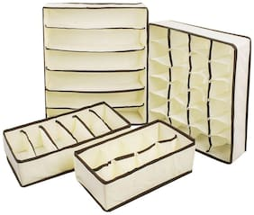House of Quirk Set of 4 Foldable Storage Box type Non-Smell Drawer Organizer Closet Storage for Socks Bra Tie Scarfs - (Beige)