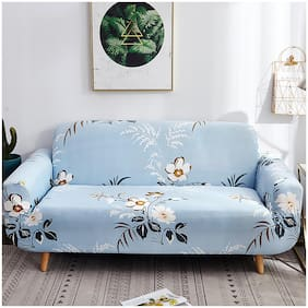 House of Quirk Sofa SlipCover Elasticity Cover for Couch Flexible Stretch (Sky Blue/Flower White;Single Seater)