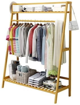 House Of Quirk Bamboo Garment Coat Clothes Hanging Duty Rack With Top Shelf And Shoe Clothing Storage Organizer Shelves