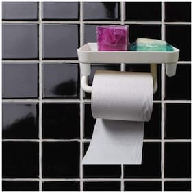 House of Quirk Magic Sticker Self Adhesive Kitchen Bathroom Toilet Paper Holder Stand - White