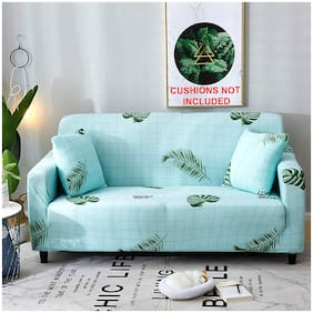 House of Quirk Universal Single Seater Sofa Cover Big Elasticity Cover for Couch Flexible Stretch Sofa Slipcover  (Single Seater, Sky Blue Fern)