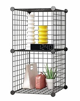 House of Quirk Stainless Steel Storage Organizer;Black (2CUBE_Iron_CAB)