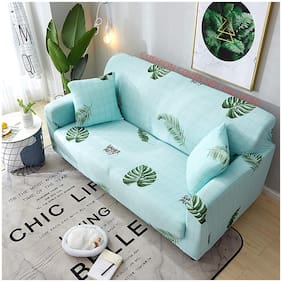 House of Quirk Universal Triple Seater Sofa Cover Big Elasticity Cover for Couch Flexible Stretch Sofa Slipcover  (Triple Seater, Sky Blue Fern)