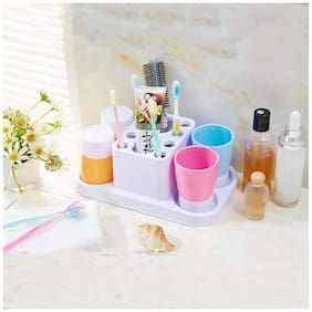 House of Quirk Family Toothbrush Holder Set Toothpaste Dispenser with 4 Tooth Mugs, Stand Toothbrush Holder Automatic Toothpaste Squeezer