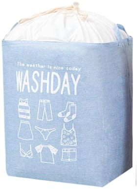 House Of Quirk Cloth Blue Laundry Basket ( Set of 1 )