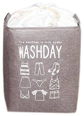 House Of Quirk Cloth Grey Laundry Basket ( Set of 1 )