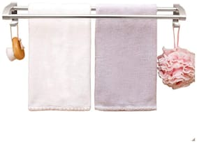 House of Quirk Aluminum Towel Bathroom Shelves Wall Mounted Two Bar Kitchen Bathroom Towel Bar;Towel Hanger with Towel Hooks - Silver