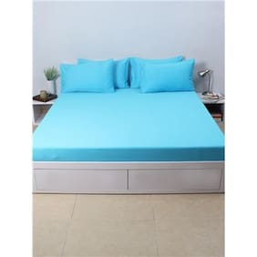 House This Atoll Blue 100% Cotton 1 Double Fitted BedSheet & 2 Pillow Covers - Blue