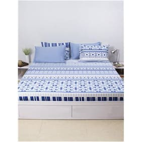House This Jharokha-Mahal 100% Cotton 1 Double Fitted BedSheet & 2 Pillow Covers - Indigo