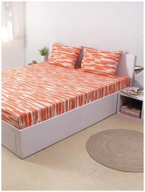 House This The Rough Strokes 100% Cotton Double Bed Sheet and 2 Pillow Covers - Orange