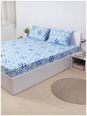 House This The Wily Kaleidoscope 100% Cotton Single Bed Sheet and 1 Pillow Cover - Blue